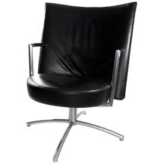 Foersom & Hiort-Lorentzen Leather and Stainless Steel Club Chair