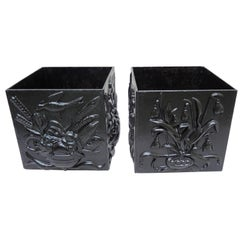 Pair of French Cast Iron Planters with High Relief Decoration, circa 1930