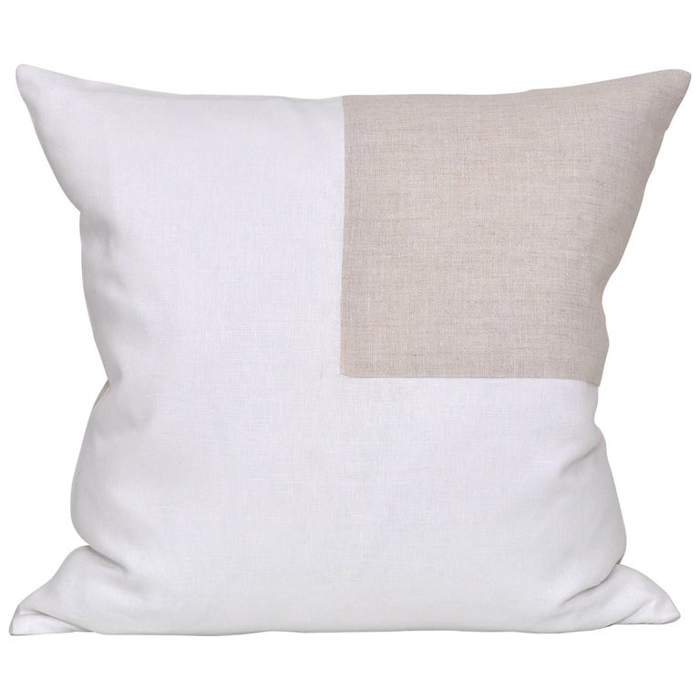 Large Contemporary White Irish Linen Pillow with Vintage Oatmeal Patch