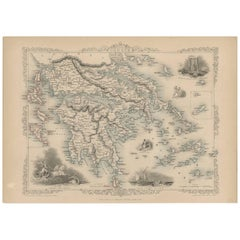 Antique Map of Greece by J. Tallis, circa 1851