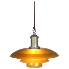 Poul Henninsen, 3 1/2 /3 Amber Colored Glass Pendent Ceiling Light, 1927