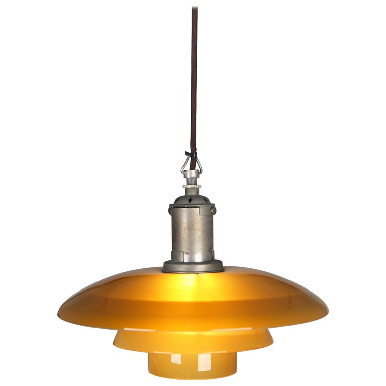 Poul Henninsen, 3 1/2 /3 Amber Colored Glass Pendent Ceiling Light, 1927 For Sale