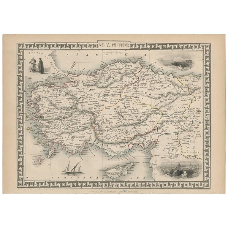 Map Of Asia Minor.Antique Map Of Asia Minor By J Tallis Circa 1851