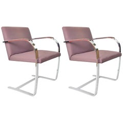 1970s Steel and Pink Velvet Knoll Brno Armchairs