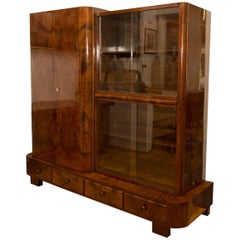 Library Cabinet in Walnut by Jindrich Halabala for UP Zavody, 1930s
