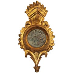 Rare French 1920s Louis XVI Carved and Giltwood Sunburst Mirror Miniature
