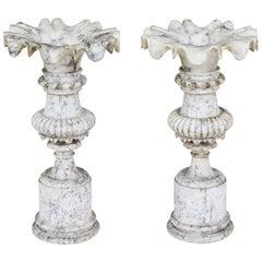 Fine Pair of 19th Century Decorative Alabaster Urns