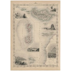 Antique Map of the Islands of the Atlantic by J. Tallis