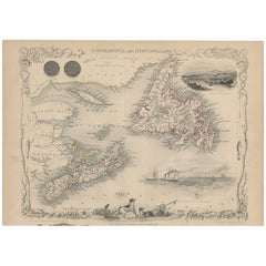 Antique Map of Nova Scotia and Newfoundland by J. Tallis, circa 1851