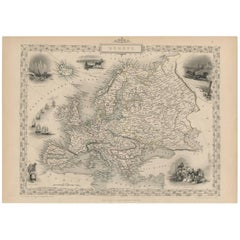 Antique Map of Europe by J. Tallis, circa 1851