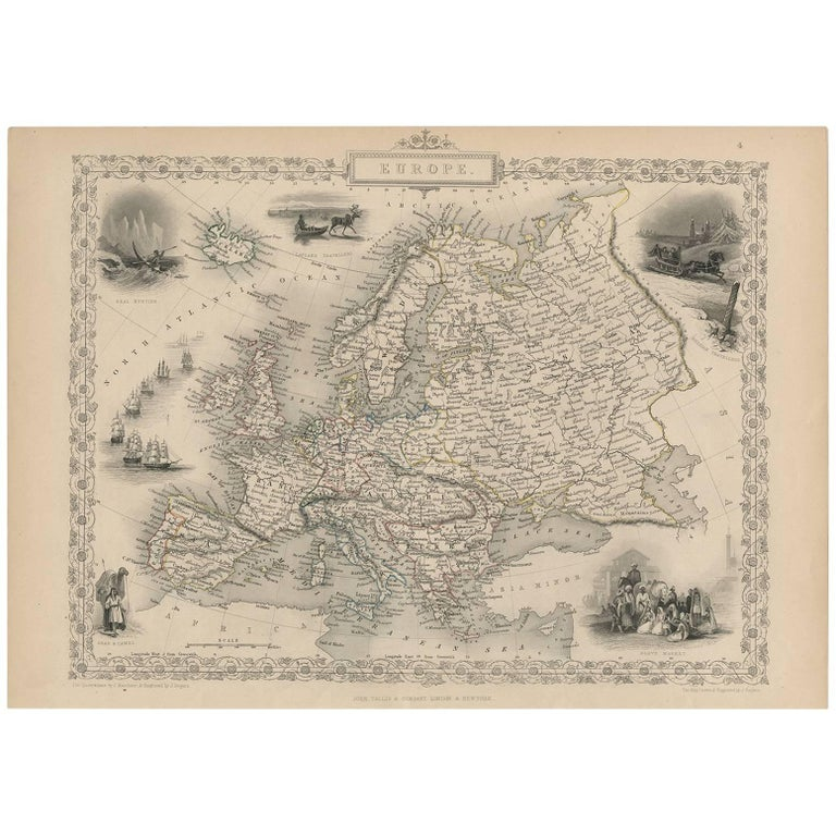Map Of Europe For Sale.Antique Map Of Europe By J Tallis Circa 1851 For Sale At 1stdibs
