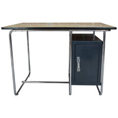 Sycamore and Chrome Office Desk Dutch Design from the 1950s