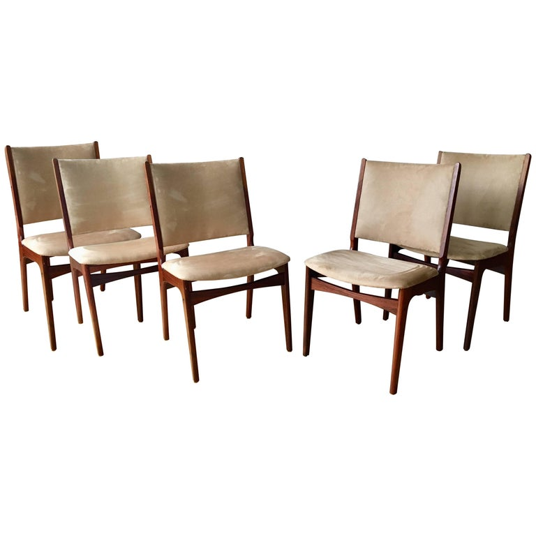 Set of Five Danish Modern Rosewood Chairs For Sale