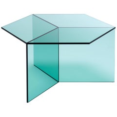 Isom Square Green Side Table in Tempered Glass