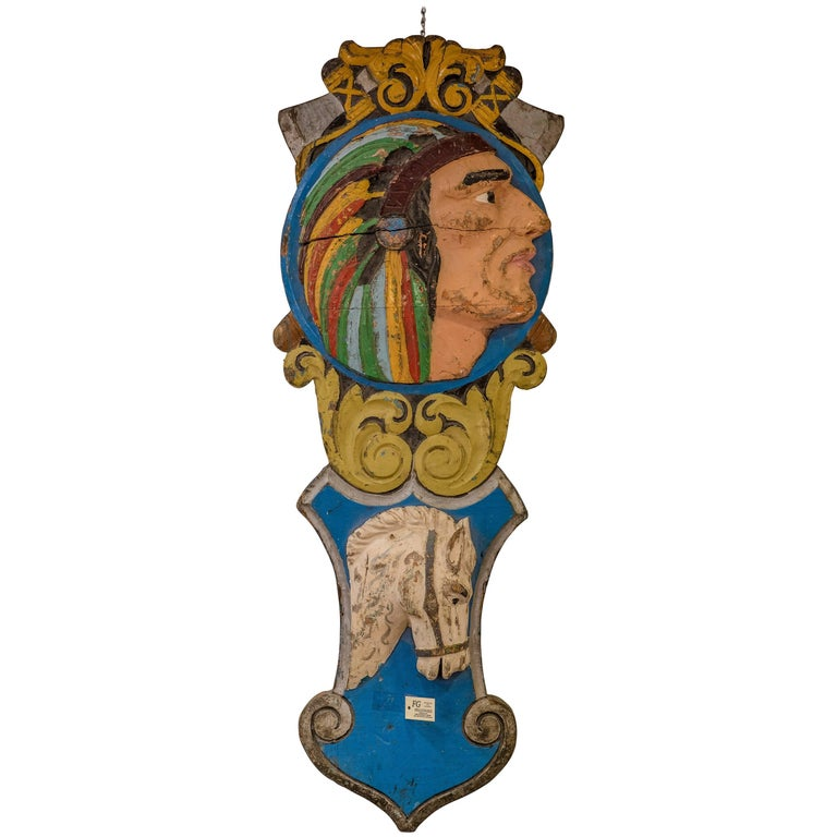 Part of a French Carousel, 19th Century, circa 1890, Carved and Painted Wood