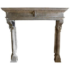 16th Century Antique Stone Fireplace Mantel