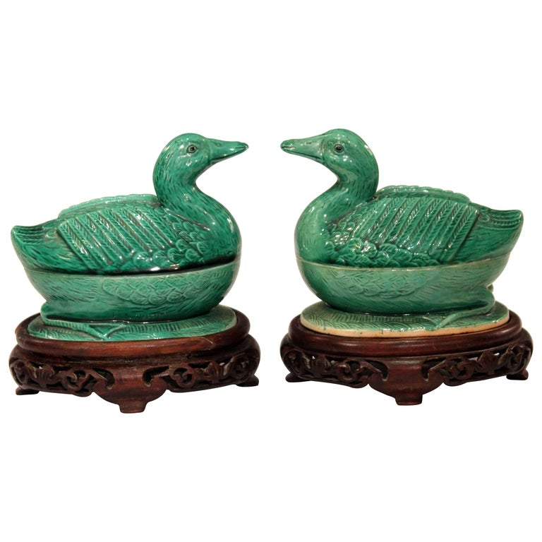 Pair of Chinese Porcelain Bird Figure Covered Boxes Ducks Geese Marked For Sale