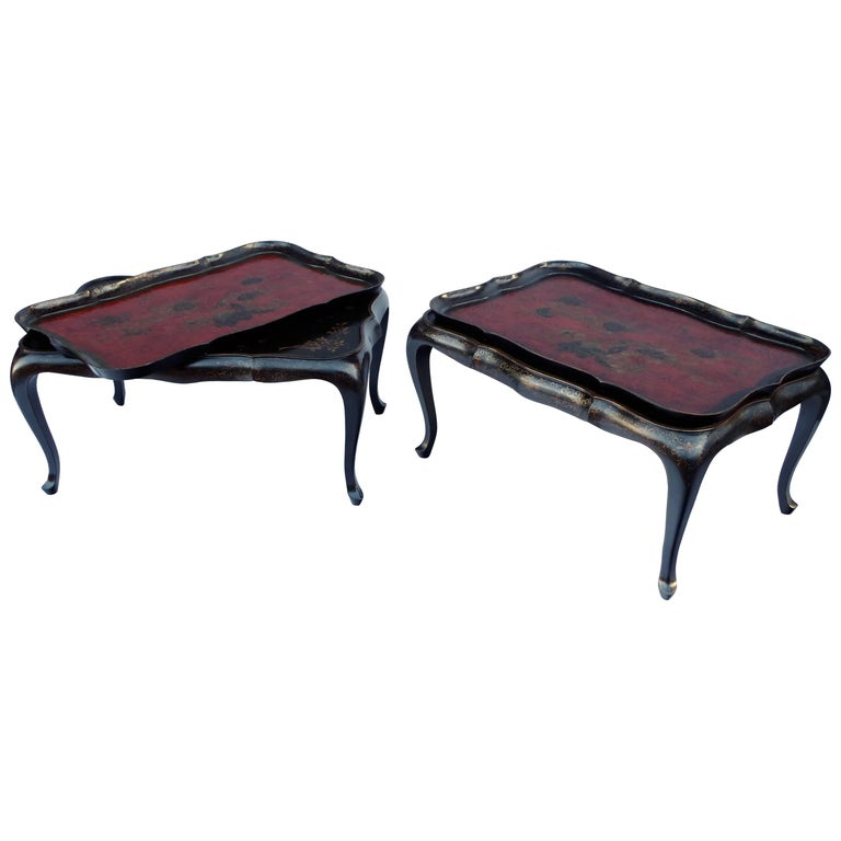 Pair Of Louis Xv Style Black And Red Lacquer Coffee Tables At 1stdibs