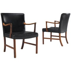 Ole Wanscher Set of Black Leather Armchairs