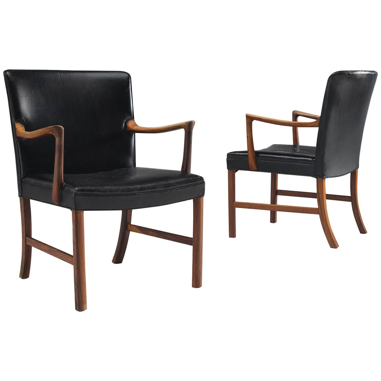 Ole Wanscher Set Of Black Leather Armchairs For Sale