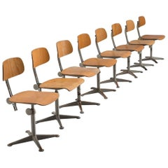 Friso Kramer for Ahrend Eight Industrial Chairs, circa 1960