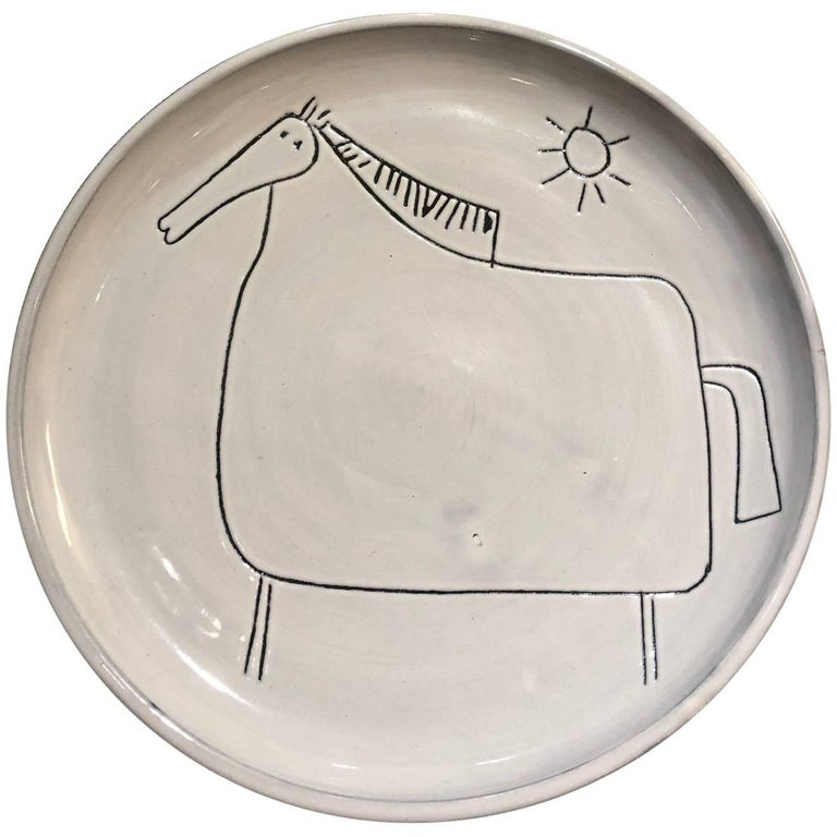 Ceramic Dish with Horse Signed by Jacques Innocenti, 1950s