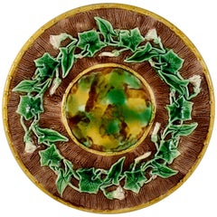 English Majolica Morning Glory Vine, Bark and Tortoiseshell Footed Cheese Tray
