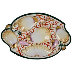 Porcelain Coral and Sea Shell Scroll Shape Hand-Painted Oyster Plate