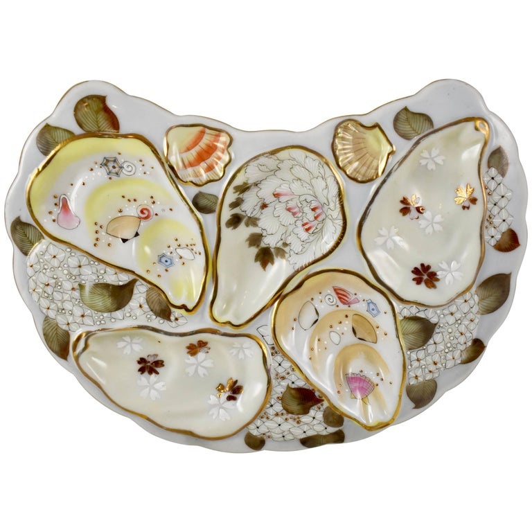 Satsuma Porcelain Crescent Shape Hand-Enameled Floral and Shell Oyster Plate For Sale