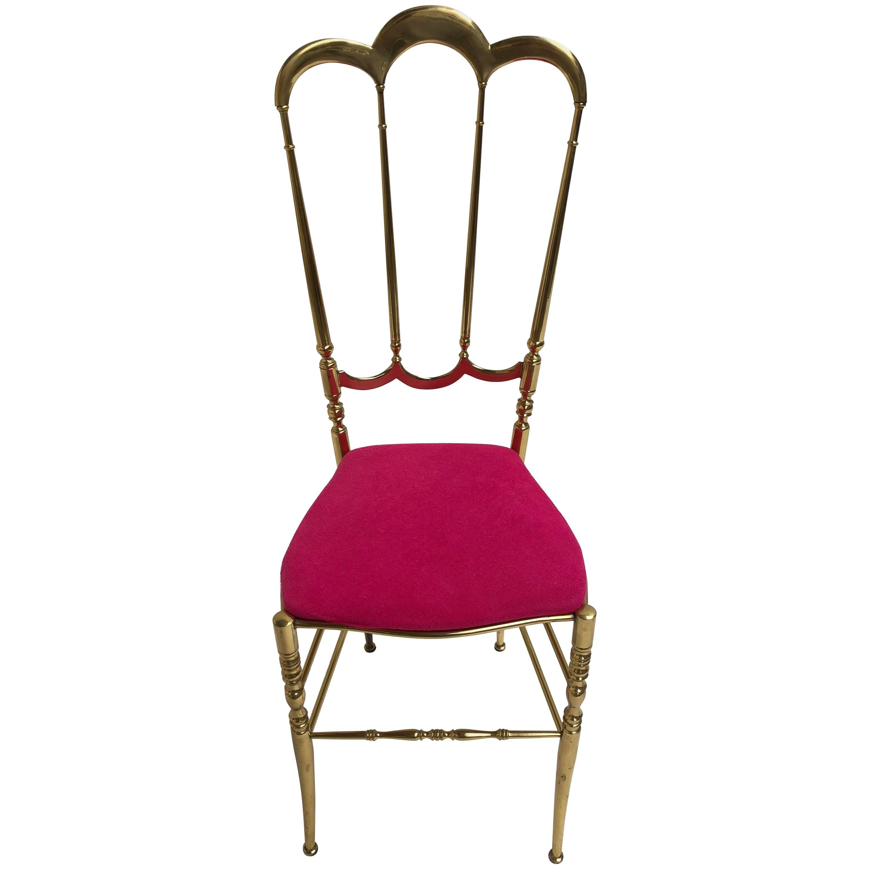 Solid Brass Chiavari Vanity / Side High Back Chair, Italy, 1960s