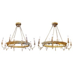 """Pair of Maison Charles """"Feuillage"""" Chandeliers"""