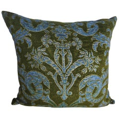 French Green Velvet Large Pillow Printed with Classical Design, circa 1950s