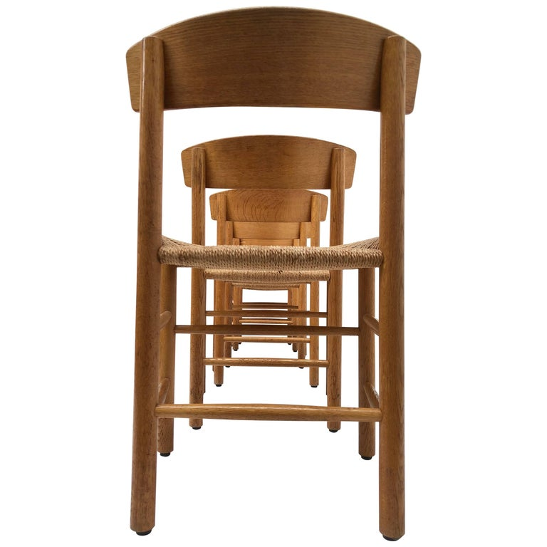 Set of Six Borge Mogensen J39 Shaker Oak and Papercord Dining Chairs, Denmark