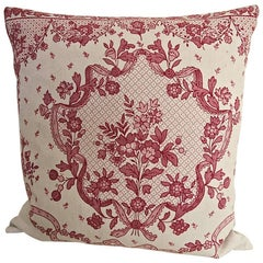 Pretty Red and Pink Floral Linen Pillow French c.1920