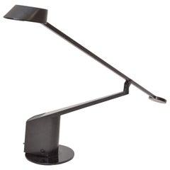 1980s Italian Adjustable Black Aluminium Table ALA Lamp by Rodolfo Bonetto