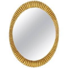 Hollywood Regency Francisco Hurtado Scalloped Giltwood Oval Mirror, Spain, 1950s