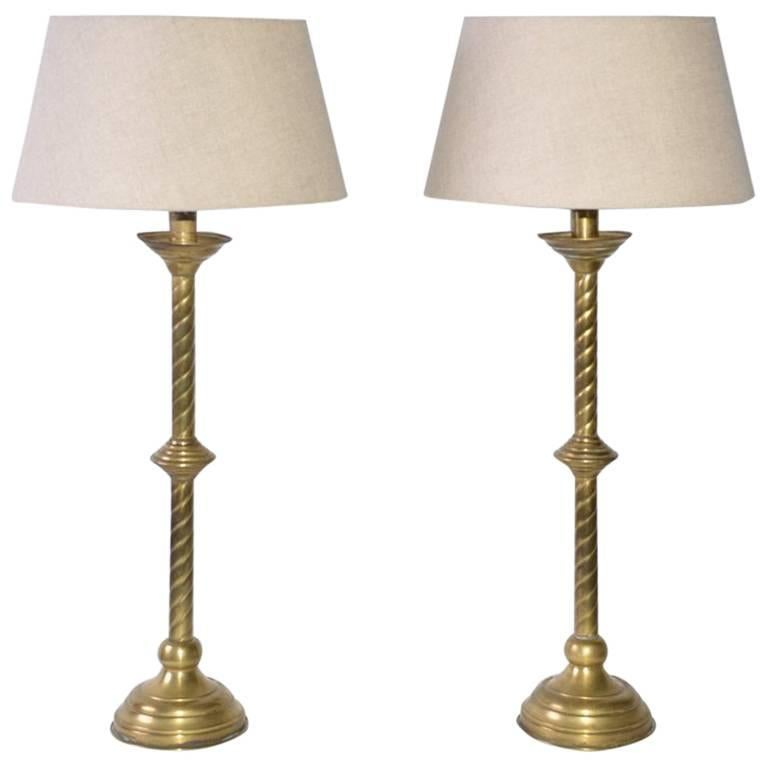 Gothic Style Brass Table Lamps with Belgium Linen Shade 1