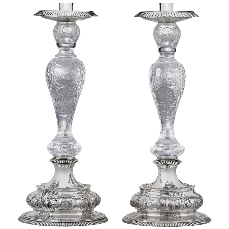 American Cut-Glass and Silver Candlesticks by Dominick & Haff