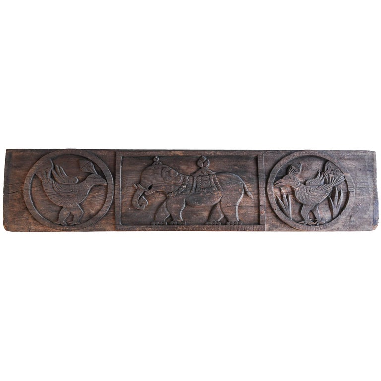 Carved Tibet Architectural Panel Elephant & Bird Motifs Early-Mid 20th Century For Sale