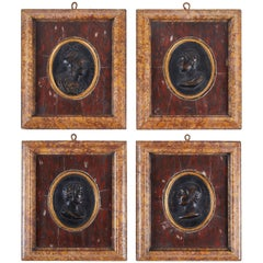 19th Century, Italian Marble and Bronze Reliefs, Set of Four