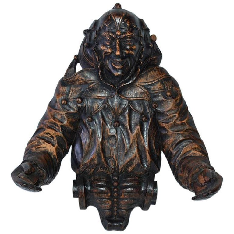 Gothic Revival Carved Wood Jester