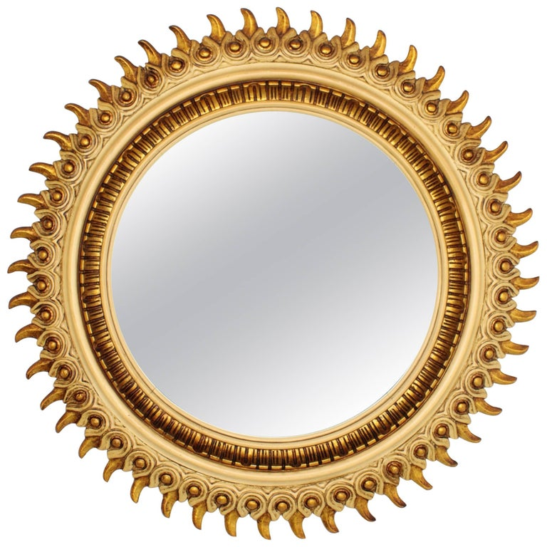 Francisco Hurtado Wood Carved Beige and Giltwood Sunburst Mirror, Spain 1950s