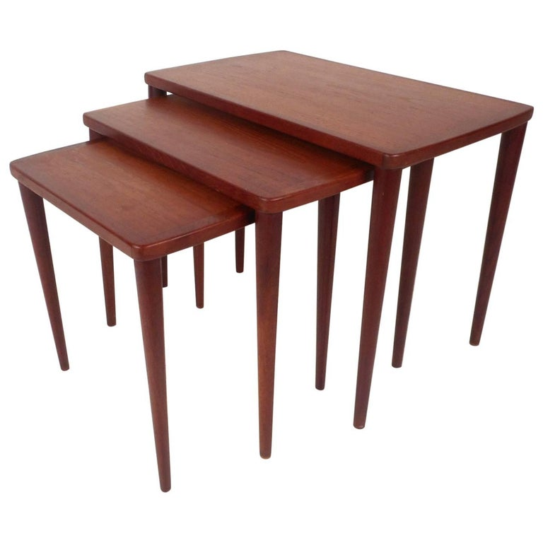 Set of Three Mid-Century Modern Teak Nesting Tables