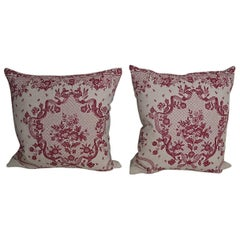 Pair of Early 20th Century Antique French Red and Pink Floral Linen Pillows