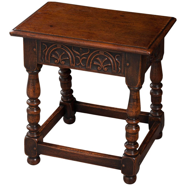 English 19th Century Oak Joint Stool For Sale