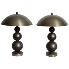 Art Deco Pair of Stacked Ball Nickel Plate and Brass Table Lamps with Dome Shade