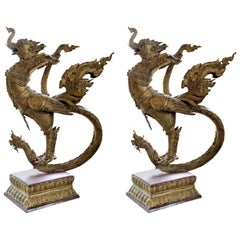 Pair of Gilt Bronze Celestial Mythical Bird Elephant Swan Kocha Puksa, Siam 1800