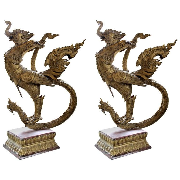 Pair of Gilt Bronze Celestial Mythical Bird Elephant Swan Kocha Puksa, Siam 1800