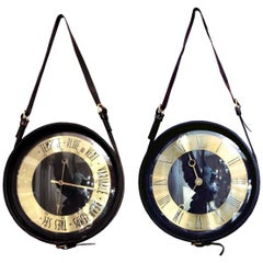Round Clock and Barometer in Black Leather by Jacques Adnet, France, 1950