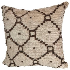 Custom Pillow Cut from a Hand-Loomed Wool Beni Ouarain Moroccan Rug
